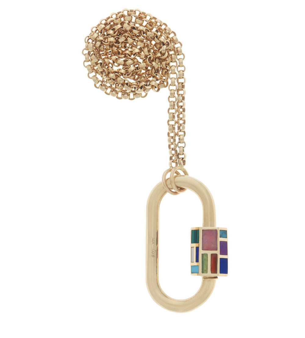 Yellow Gold Phyllis Lock on Rolo Chain