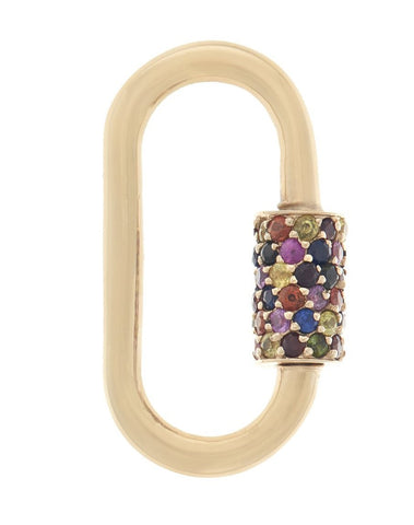 Yellow Gold Stoned Regular Lock with Harlequin Stones
