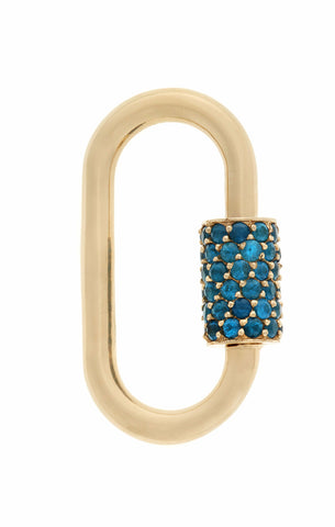 Yellow Gold Regular Stoned Lock with Windex Blue Paraiba
