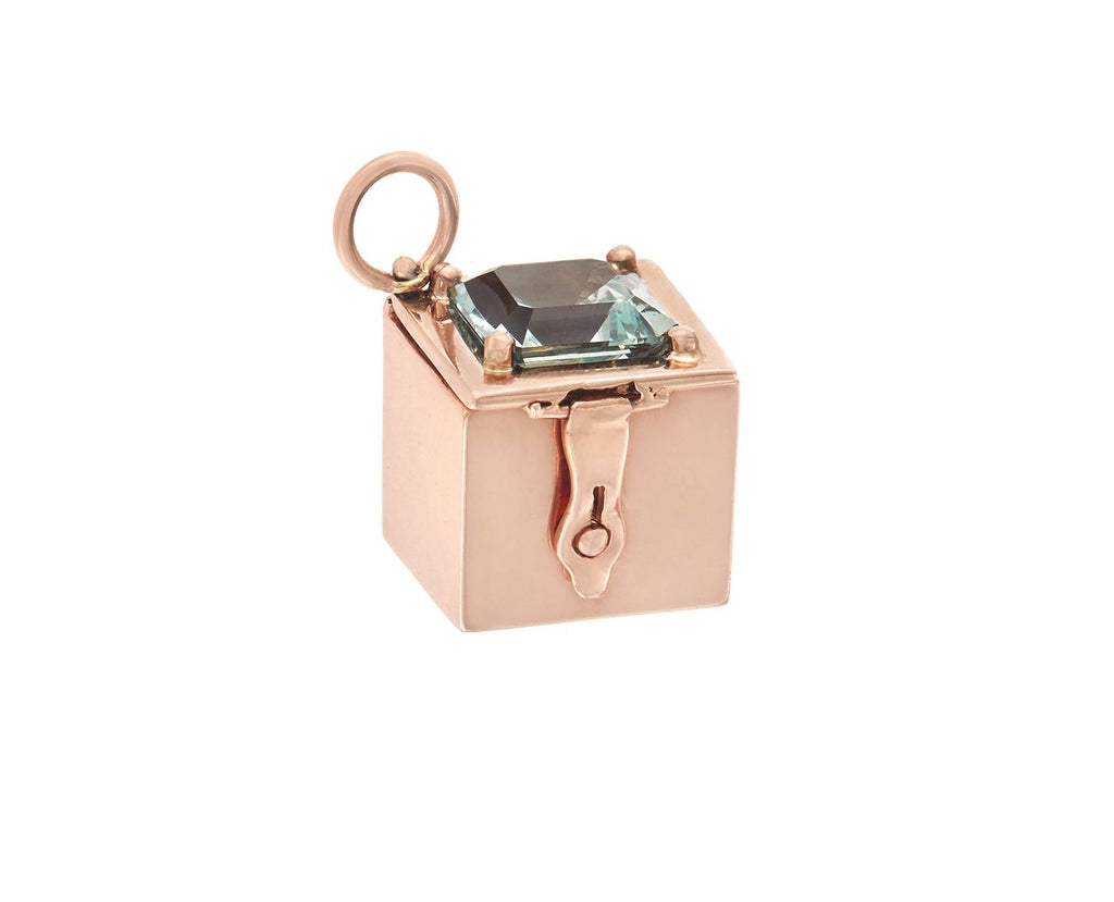 Rose Gold Box Charm with Aquamarine