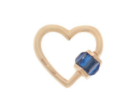 Yellow Gold Total Baguette Baby Heart Lock with Blue Sapphires