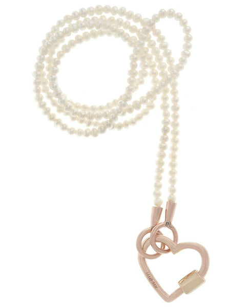 "Rose Gold Baby Heart Lock on a 16"" strand of seed pearls"