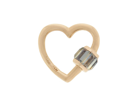 Yellow Gold Total Baguette Baby Heart with Grey Songea Sapphires