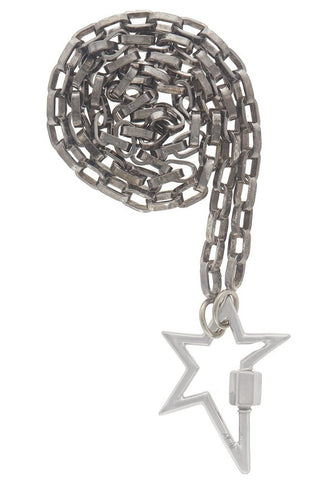 "White Gold Starlock on a 16"" Biker Chain"