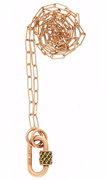 "Rose Gold Baby Stoned Lock with Green Tourmalines on 16"" Rose Gold Square Link Chain"