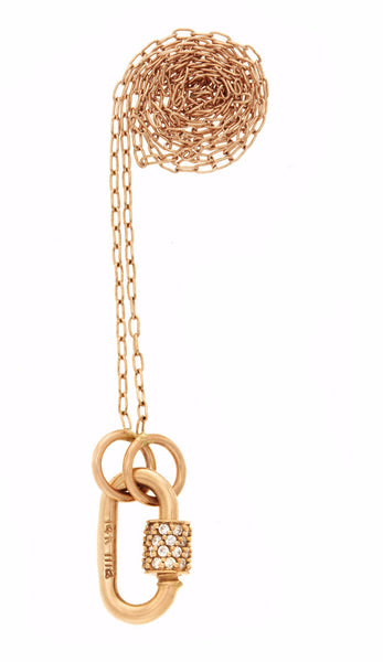 "Rose Gold Baby Stoned Lock with Diamonds on 16"" Rose Gold Fine Square Link Chain"
