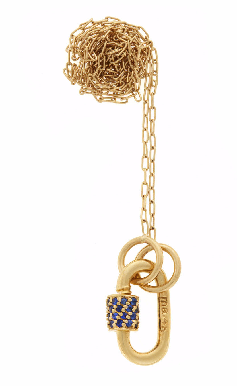 "Yellow Gold Baby Stoned Lock with Blue Sapphires on 16"" Yellow Gold Fine Square Link Chain"