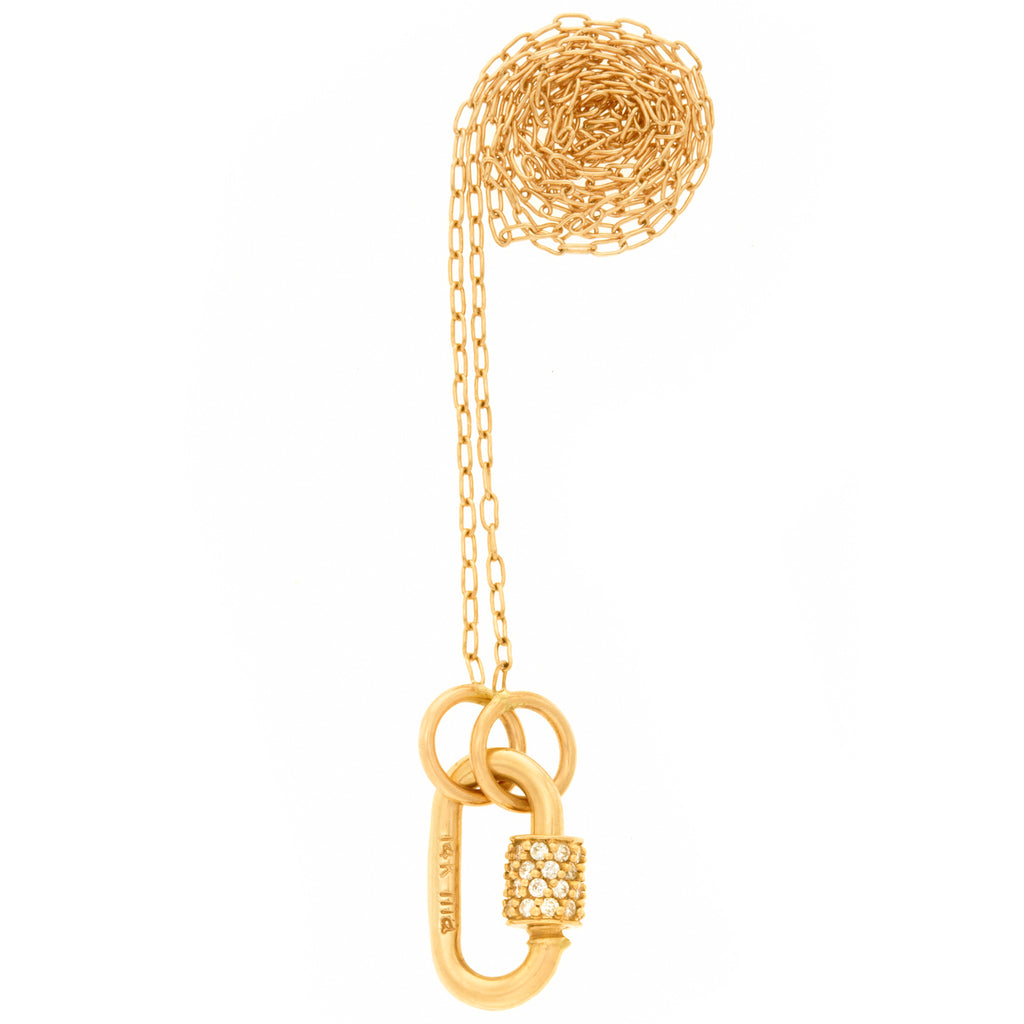 "Yellow Gold Baby Stoned Lock with Diamonds on 16"" Yellow Gold Fine Square Link Chain"