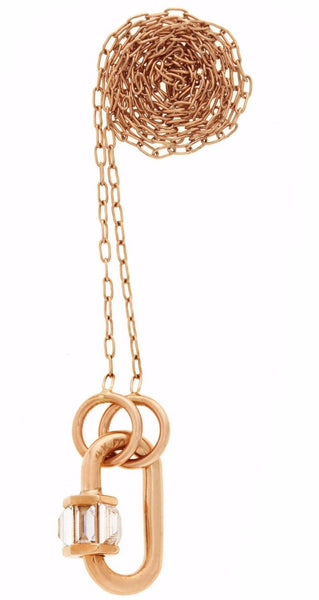"Total Baby Baguette in Rose Gold with Diamonds on 16"" Rose Gold Fine Square Link Chain"