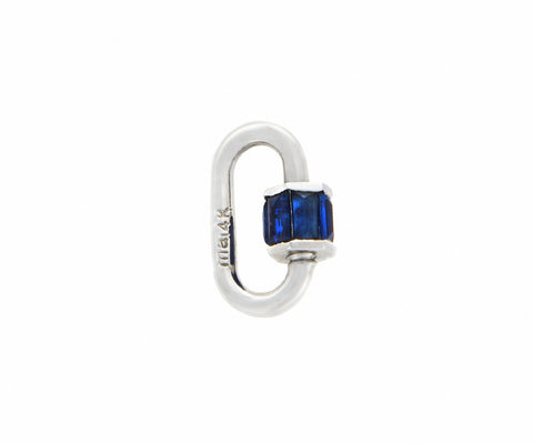 White Gold Total Baguette Baby Lock with Blue Sapphires