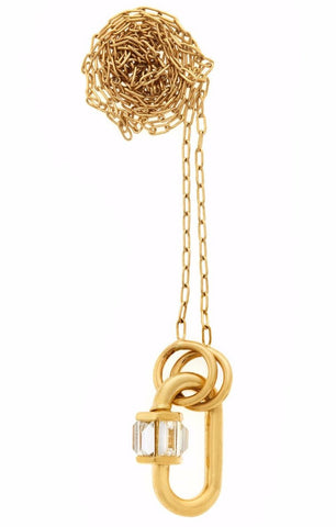 "Total Baby Baguette in Yellow Gold with Diamonds on Yellow Gold 16"" Fine Square Link Chain"