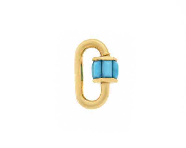 Yellow Gold Total Baguette Baby Lock with Faceted Sleeping Beauty Turquoise