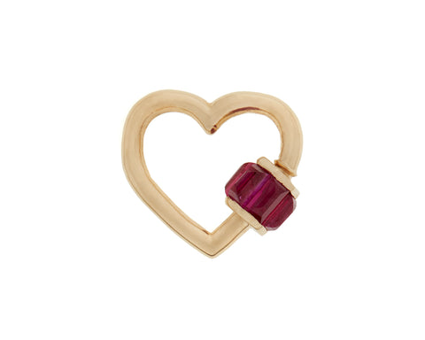 Yellow Gold Total Baguette Baby Heart with Rubies