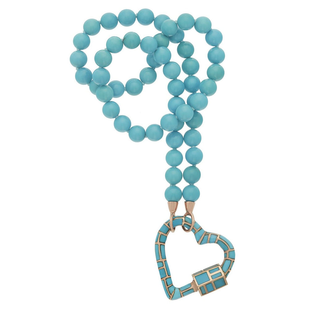 Turquoise All Inlay Heartlock on Turquoise Strand
