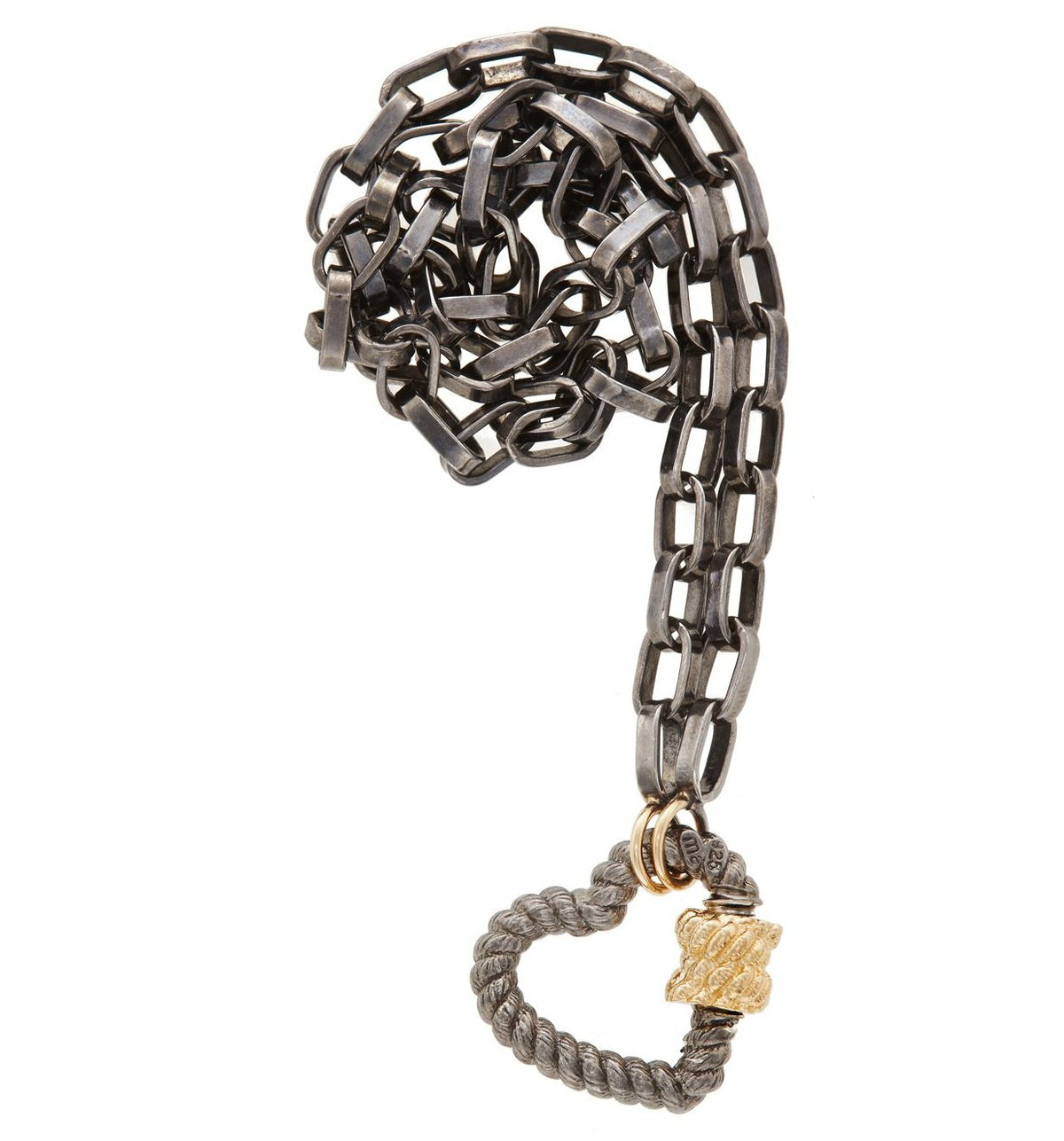 Blackened Silver and Yellow Gold Twisted Heartlock on Biker Chain