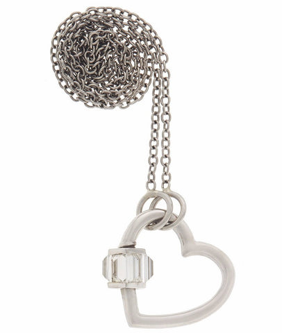 "White Gold Total Baguette Heart Lock with Diamonds on a 16"" Platinum Chain"