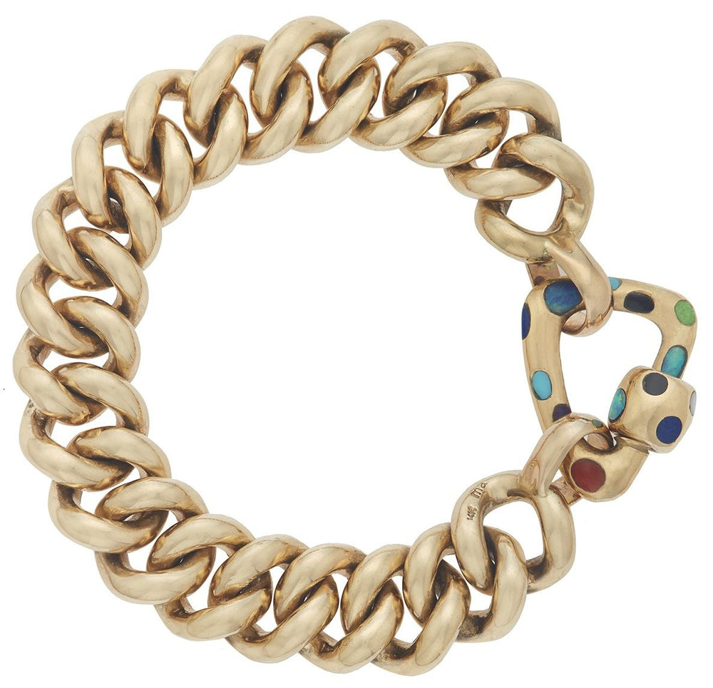 Yellow Gold Freeform Inlay Lock with Mega Curb Bracelet