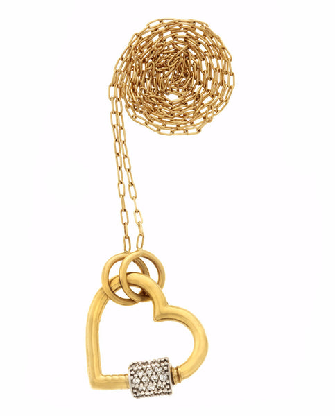 "Yellow Gold Heart Lock with Diamonds on 16"" Yellow Gold Fine Square Link Chain"