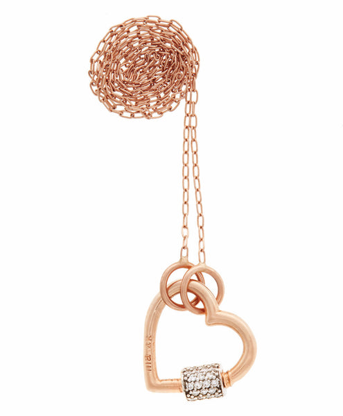 Diamond Stoned Baby Heart Lock on Fine Square Link Chain