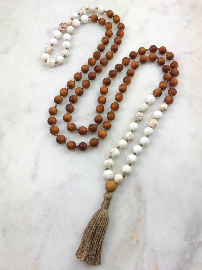 Sandalwood Mala with White Magnesite