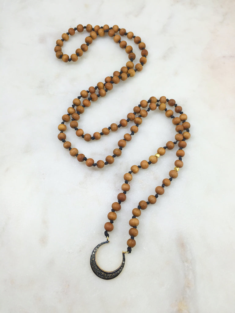 Small Sandalwood Necklace with Diamond Crescent