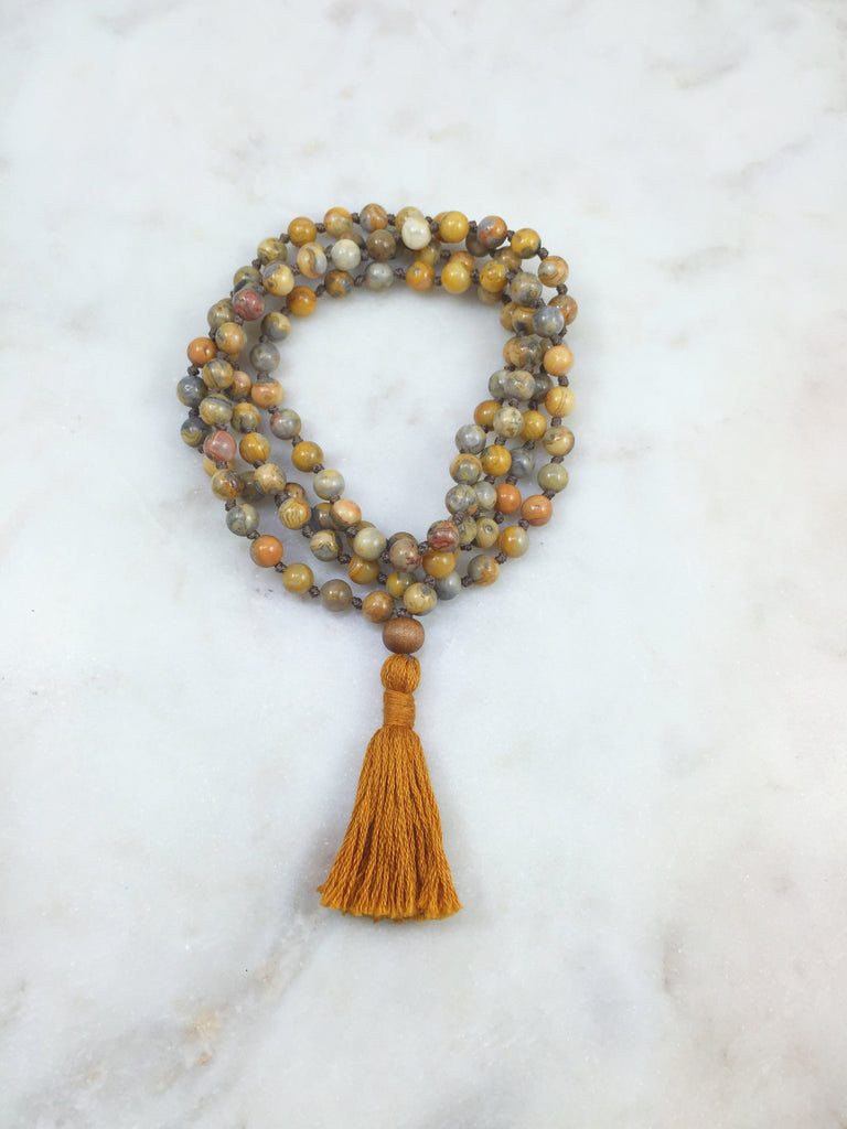 Mini Old Crazy Lace Agate Mala