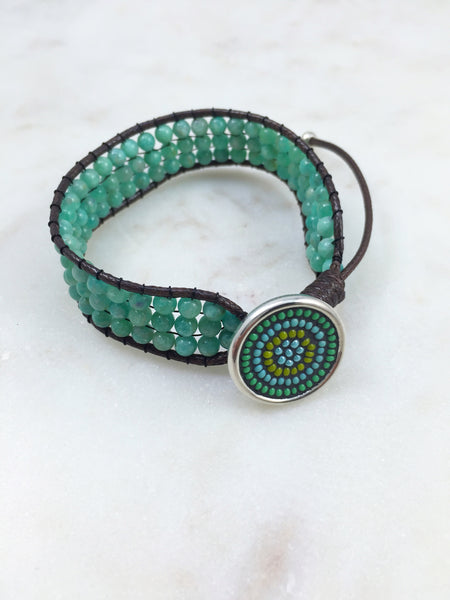 Amazonite & mosaic button bracelet