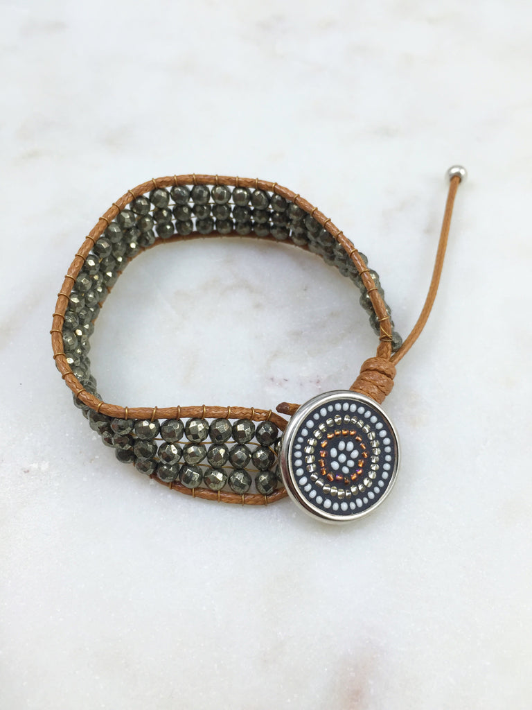 Pyrite & mosaic button bracelet