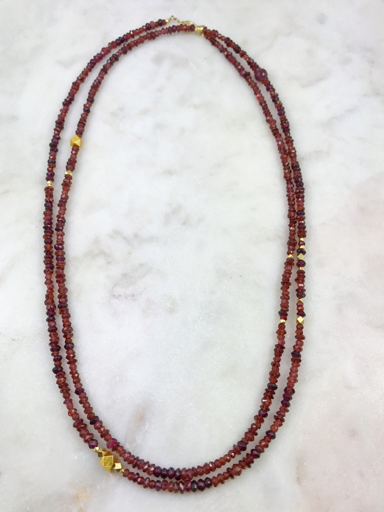 Garnet necklace, long