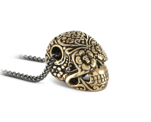 Day of Dead skull in bronze