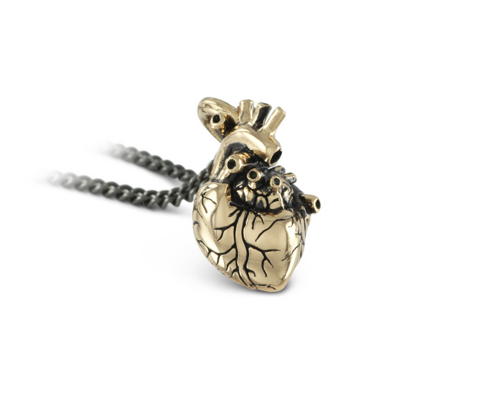 Anatomical heart, small, in bronze