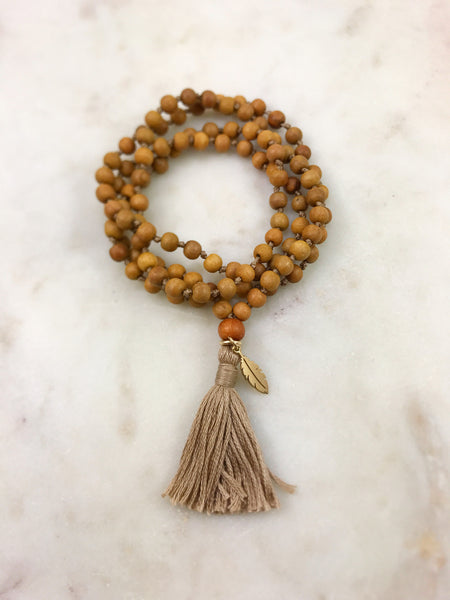 Mini Sandalwood Mala with Feather