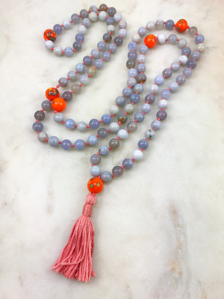 Blue Chalcedony Mala with Vintage Beads