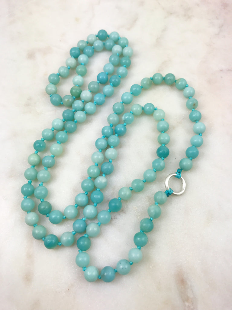 Amazonite Mala with Sterling Silver Ring