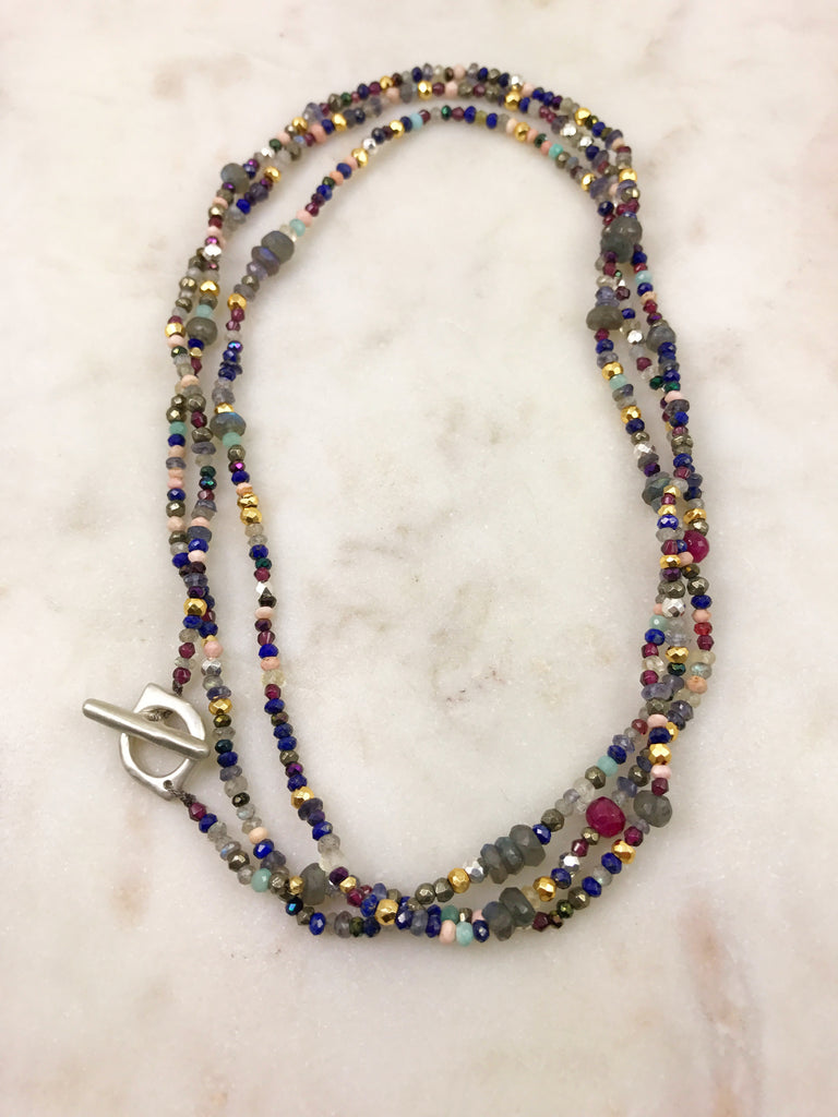 Long multi-bead necklace with Clay Twombly clasp