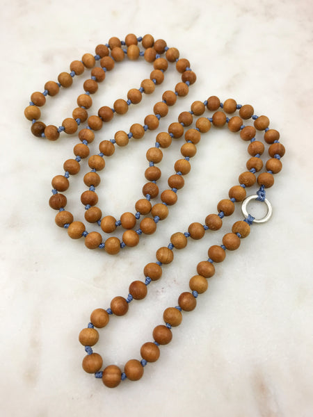 Sandalwood Mala with Silver Ring