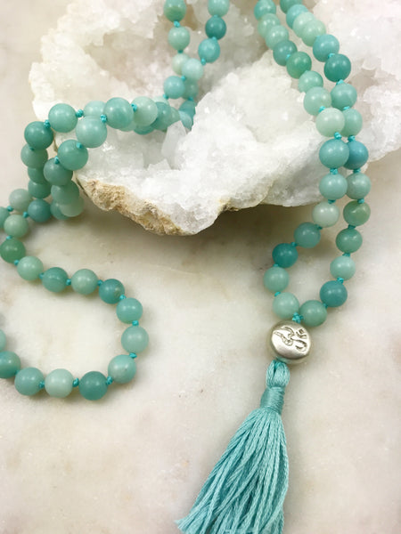 Amazonite mala with silver Om bead