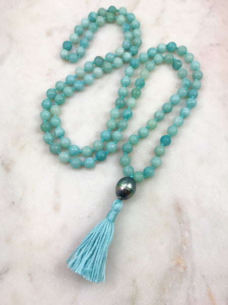 Amazonite Mala with Tahitian pearl