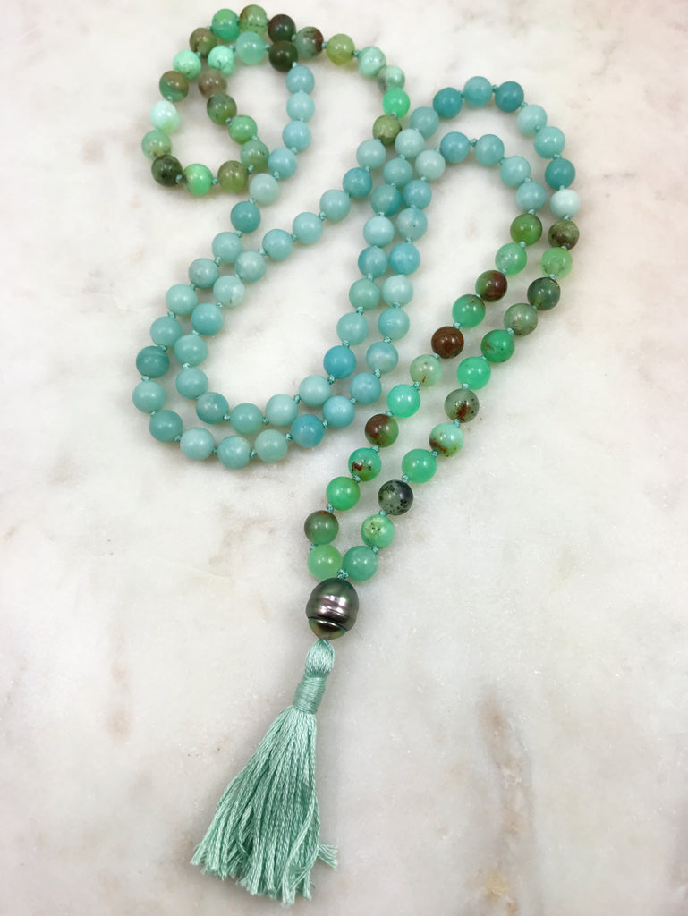 Amazonite Mala with chrysoprase and Tahitian pearl