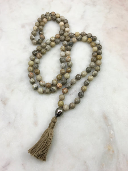 Fossil Coral Mala with Tahitian pearl