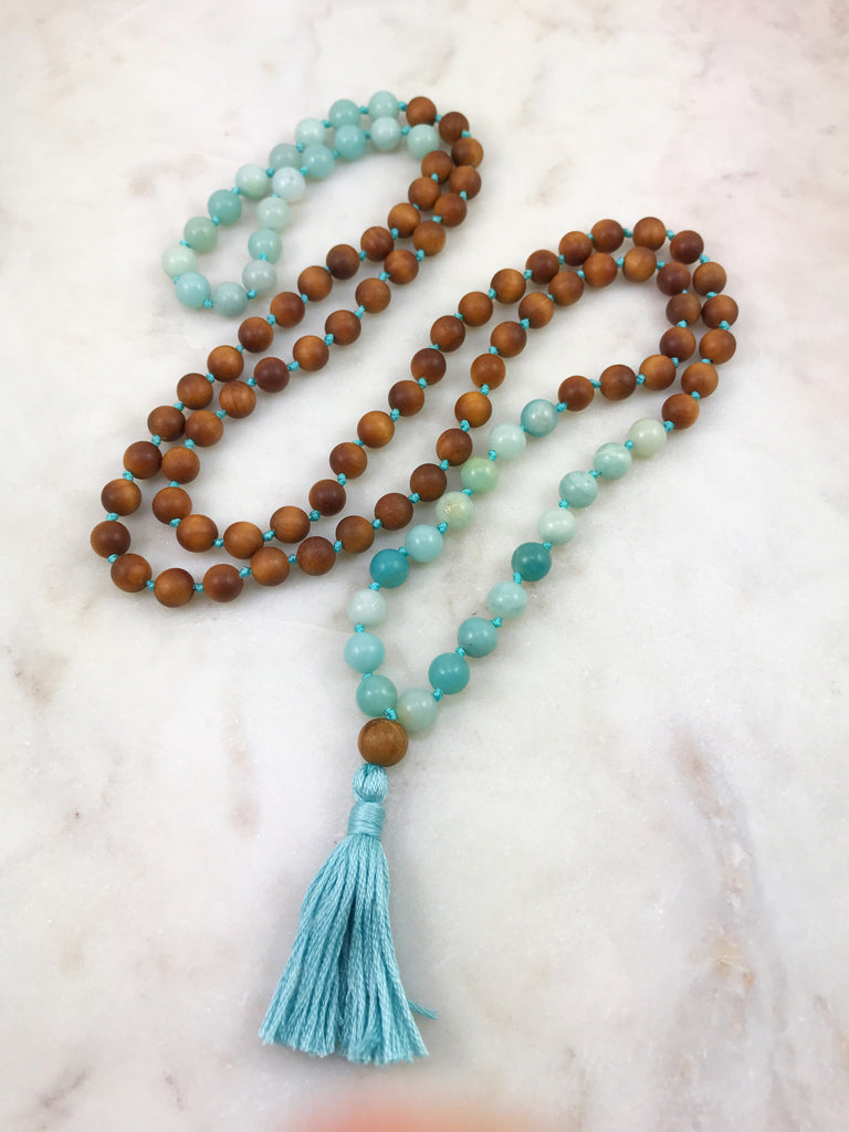 Sandalwood Mala with Amazonite
