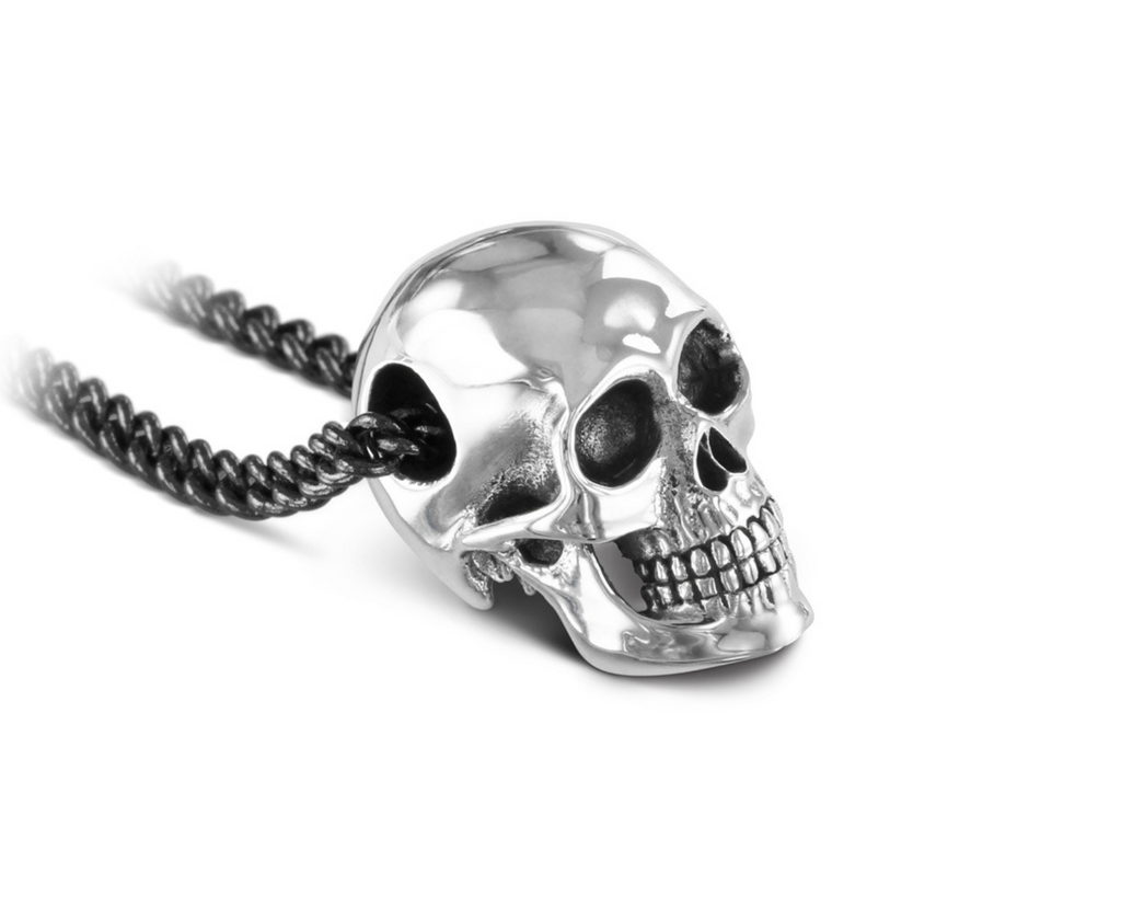 "Human skull in ""antique silver"""