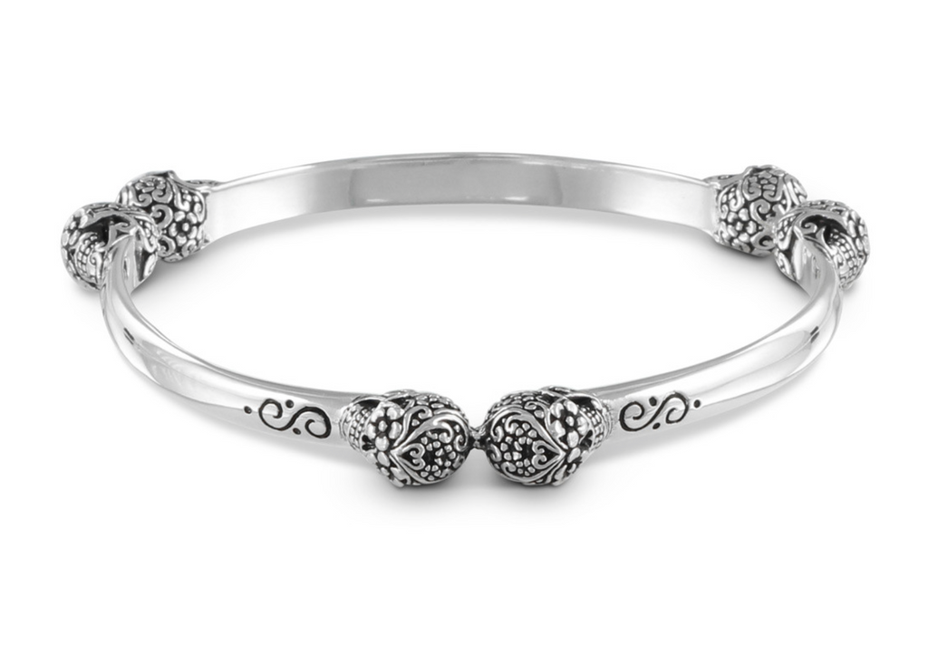 Day of the Dead Bangle in antique silver