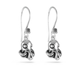 "Octopus earrings in ""antique silver"""