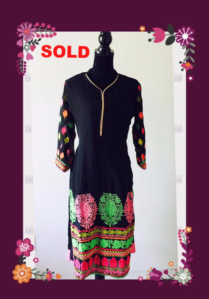 Black Georgette kurta with multi color embroidery#FDN0018