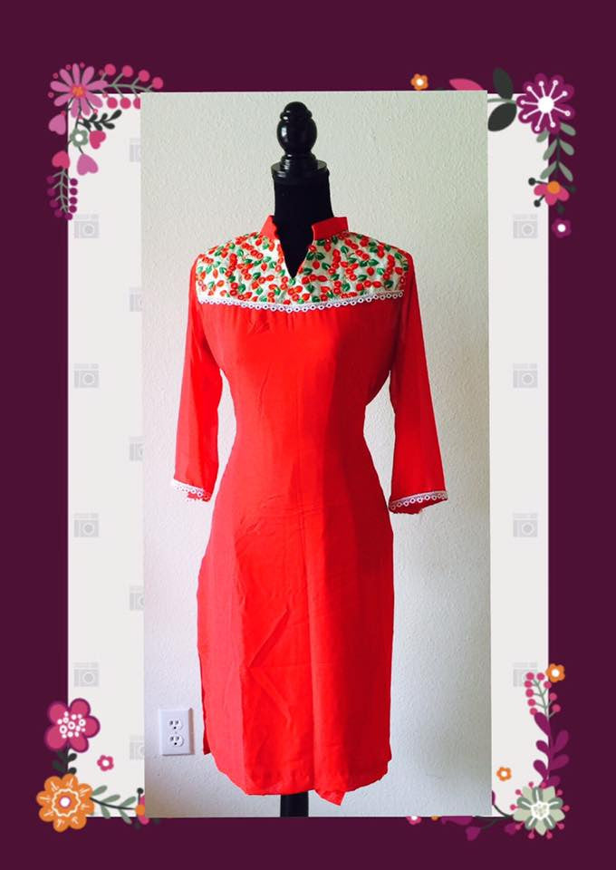 Georgette kurta in red with pants #FDN0007