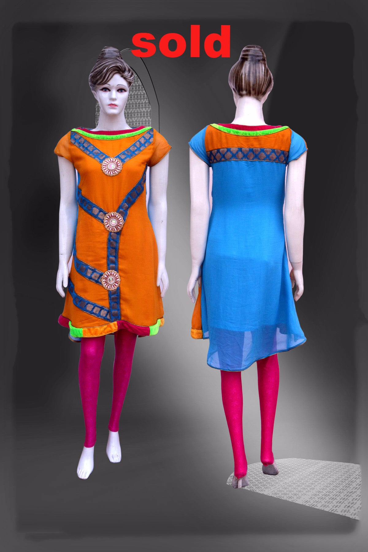 Multicolored Yellow color Long Kurti #FDSKH0045_001