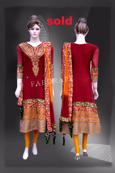 Rose red Georgette Embroidered Suit #FDSKH0016_001