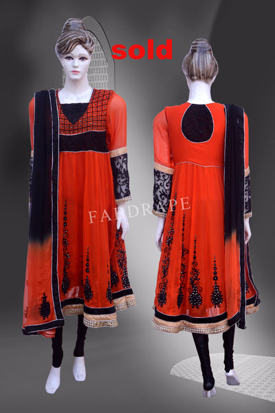 Orange and black Georgette embroidered Suit #FDSKH0011_001