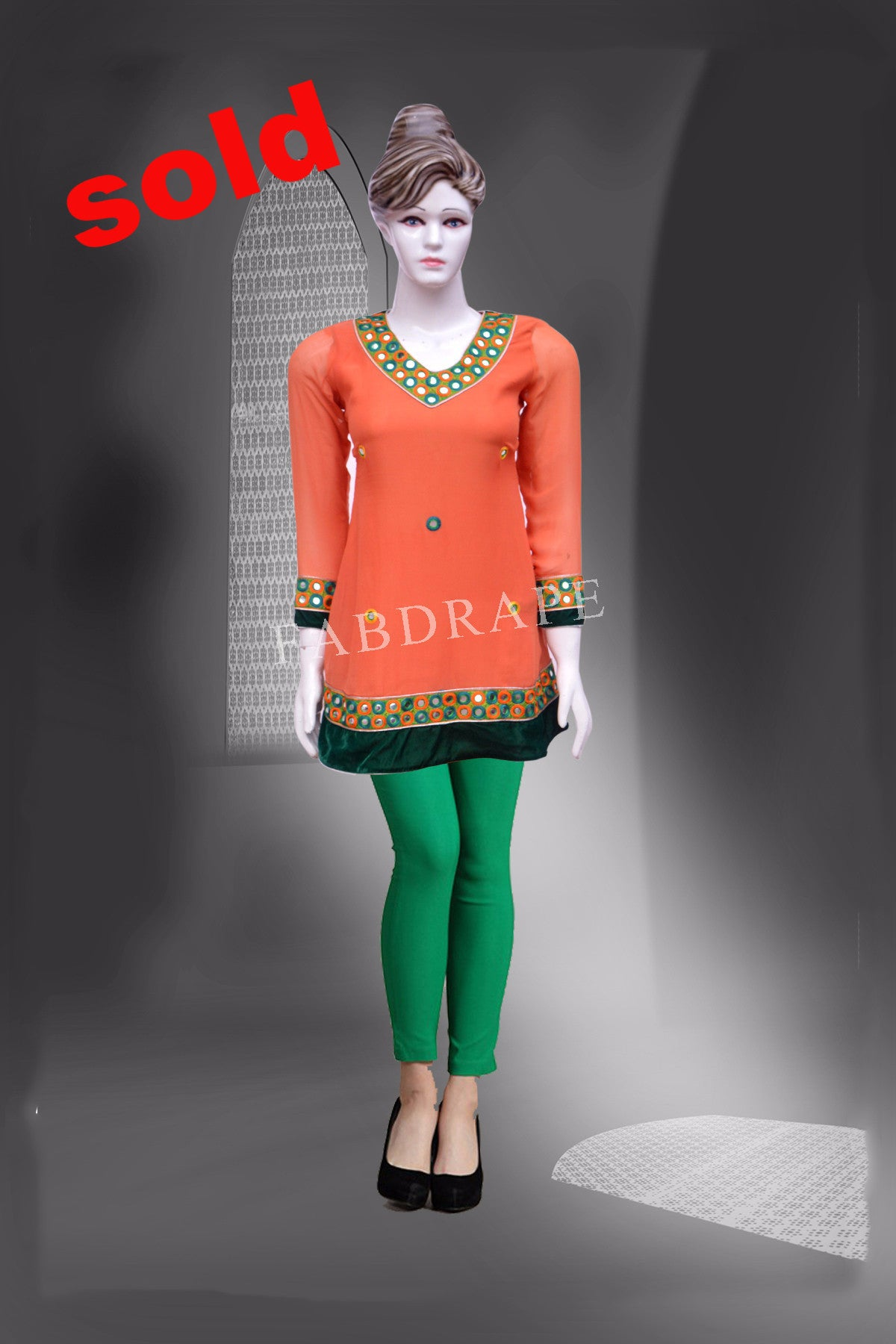 Pink and neon  Blue  embroidered short Kurti #FDSKH0034_001